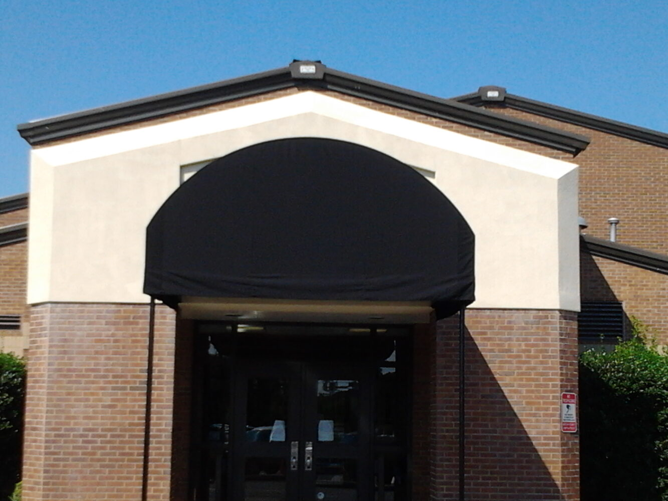 Custom Fabricated School Entrance Awning, Sunbrella Canvas