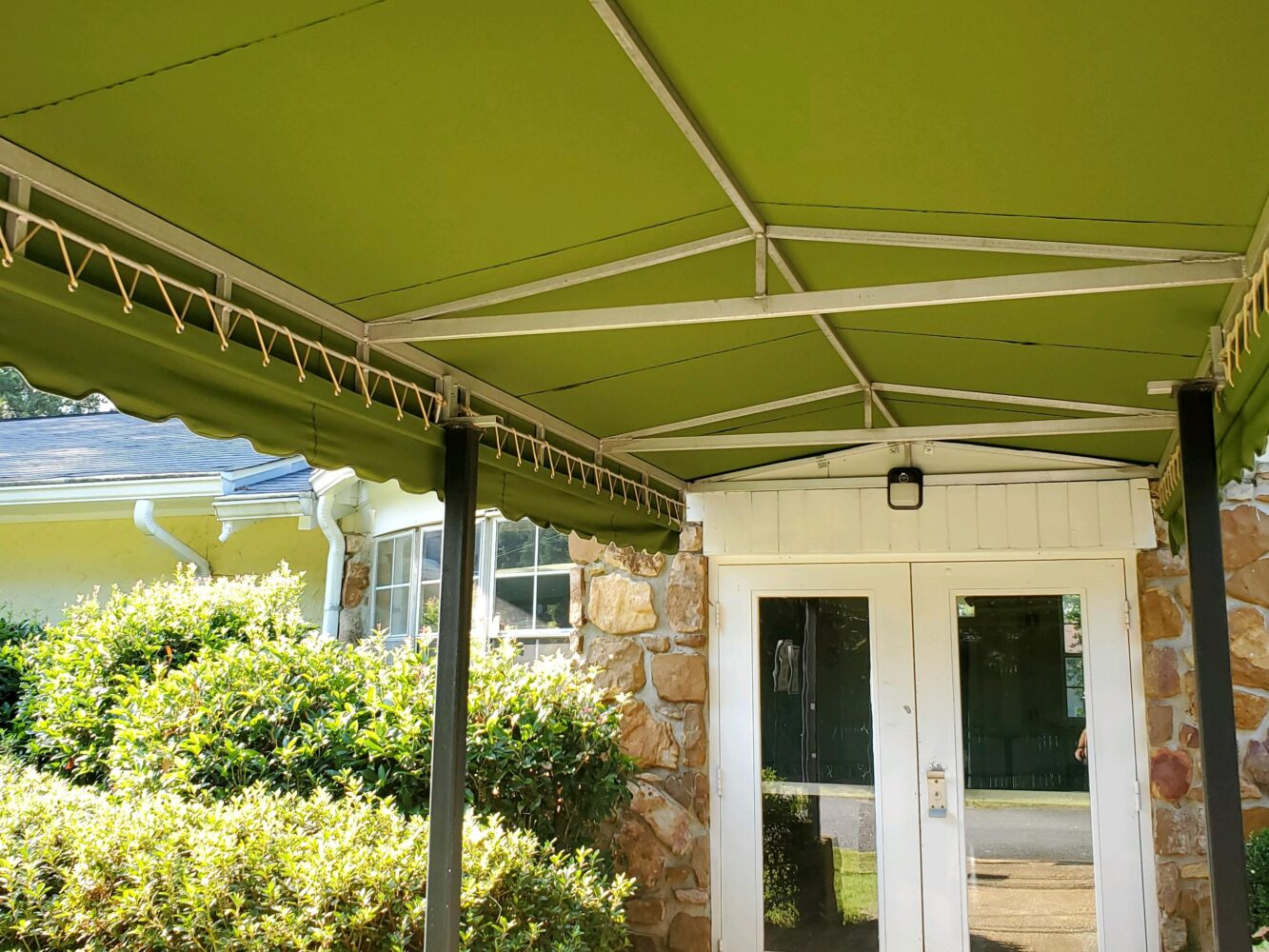 Laced Aluminum Frame Walkway Awning, Sunbrella Canvas