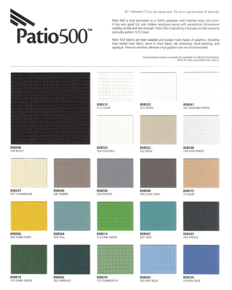 Patio 500 Awning Fabric Color Options