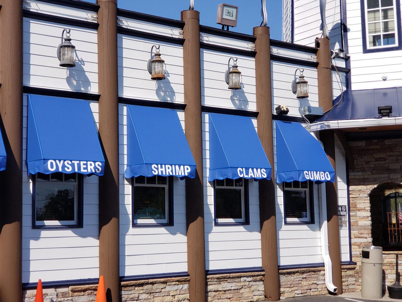 Marietta Fish Market custom awning in Weather Chek fabric