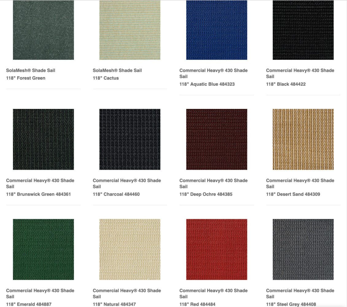 Shade Sail Commercial Fabric Color Options