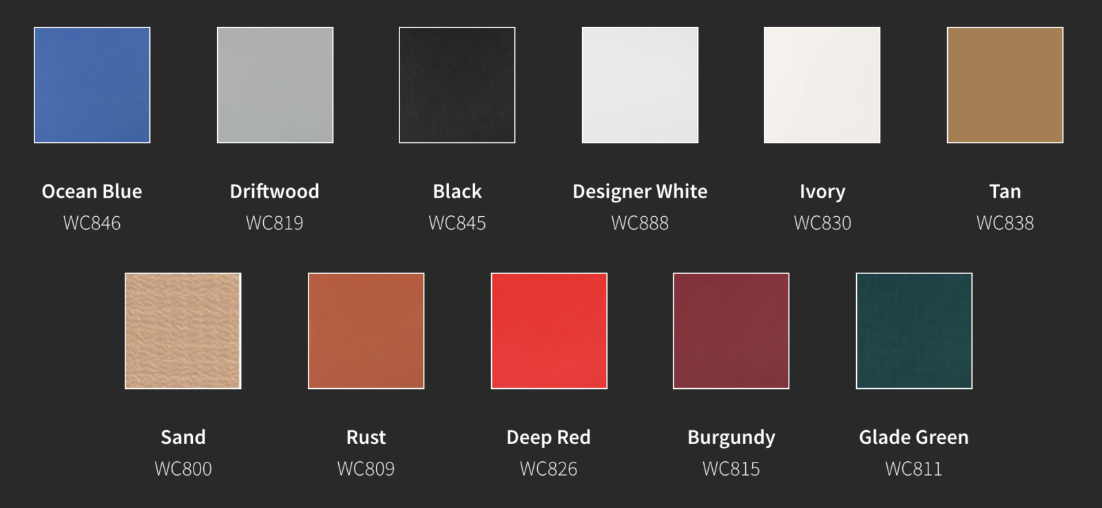 Weather-Chek awning fabric color options